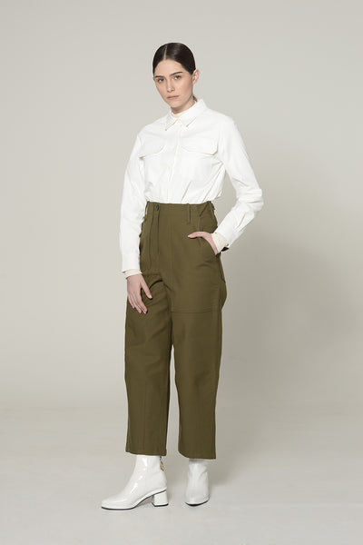 OLIVE RECTANGULAR FRONT POCKET TROUSERS