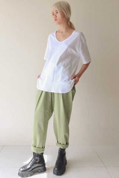 White Low Scoop T-Shirt