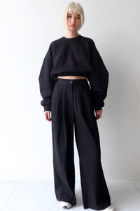 Black Oversized Cropped Sweater Top