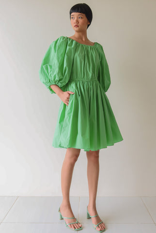 Light Green Balloon Sleeve Dress