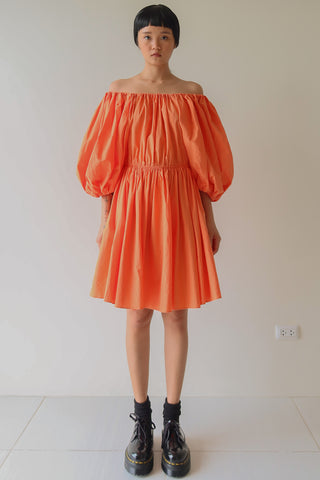 Orange Balloon Sleeve Dress