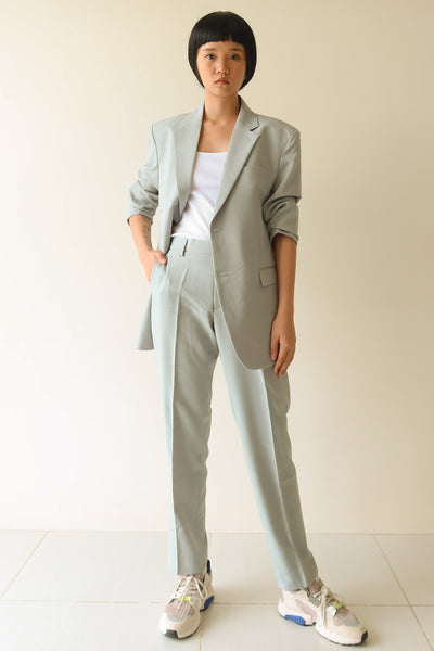 Green Grey Single Breasted Suit Set