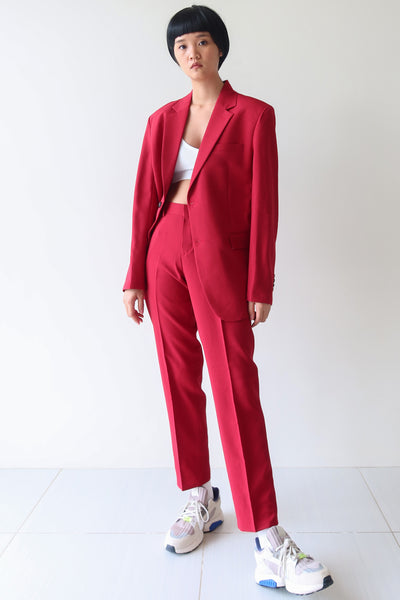 Red Single Breasted Suit Set
