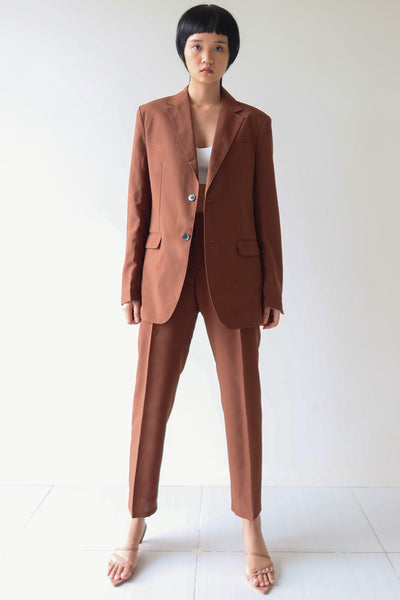 Chocolate Single Breasted Suit Set