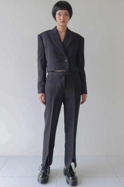 Black Cropped Blazer and Trouser Set