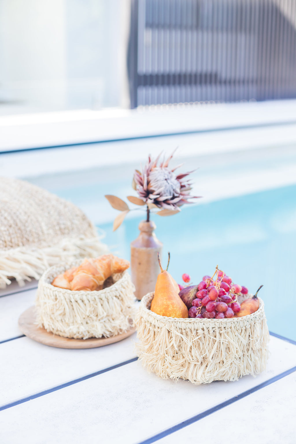 Raffia Fringe Storage Baskets