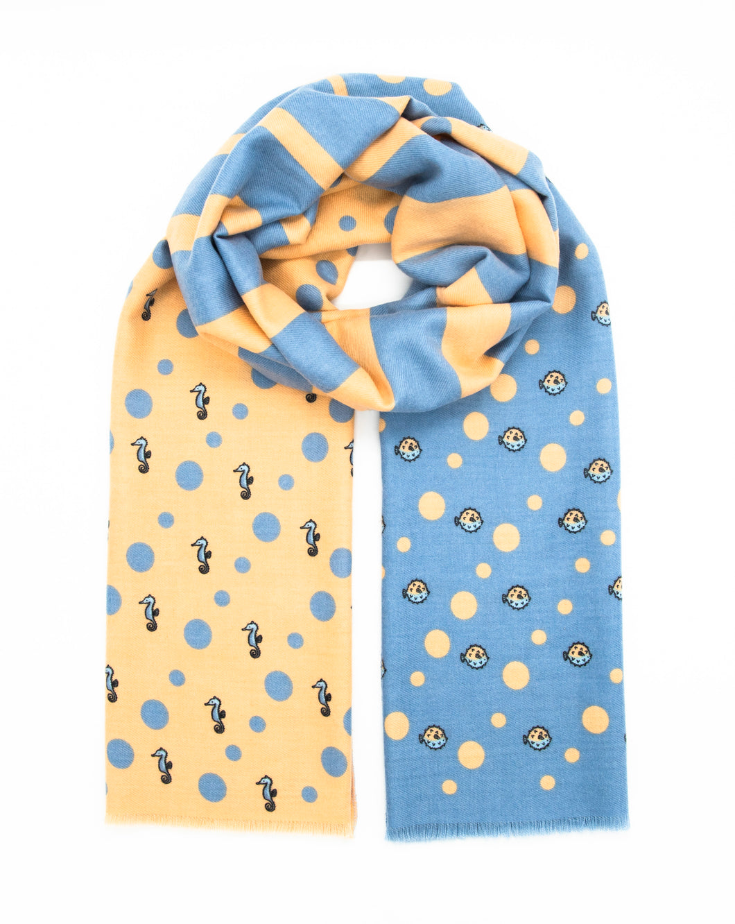 Beige and light blue scarf with marine pattern, sea horse and blow fish patterns. Scarves for women. Scarves for men.