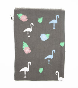 Stylish scarf with flamingos and flowers design in trendy colors such as grey, pink, green and light blue. Scarves for women. Scarves for men.