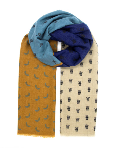 Colorful scarf with funny banana, palms, mustache and beard pattern and trendy colors like blue, turquoise, bronze and pale brown. Scarves for women. Scarves for men.