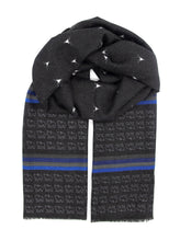 Load image into Gallery viewer, Black scarf. Always fashionable and elegant black scarf with blue and grey stripes designed with make reindeers and bears patterns. Made of cosy and warm materials which makes it a perfect fit for the Winter, Autumn and Spring season. It will also keep you warm on a chilly day in Summer so you can simply wear it all year round! Scarves for women. Scarves for men.