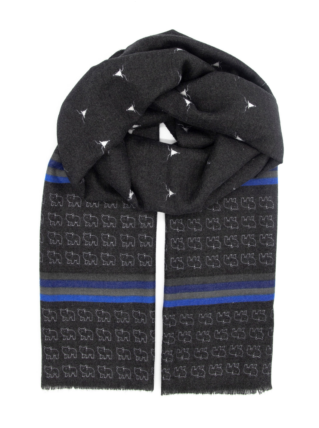 Black scarf. Always fashionable and elegant black scarf with blue and grey stripes designed with make reindeers and bears patterns. Made of cosy and warm materials which makes it a perfect fit for the Winter, Autumn and Spring season. It will also keep you warm on a chilly day in Summer so you can simply wear it all year round! Scarves for women. Scarves for men.