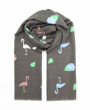 Load image into Gallery viewer, Stylish scarf with flamingos and flowers design in trendy colors such as grey, pink, green and light blue. Scarves for women. Scarves for men.