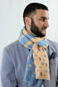 Apricot and light blue scarf with sea horse and blow fish patterns. Scarves for women. Scarves for men.