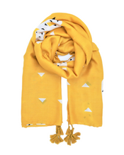 Load image into Gallery viewer, Yellow scarf. Scarf for women. Scarf with cactus pattern. Pareo. Wrap yourself up a great selection of fashion scarves for women and men at Scarf Designers online. FREE SHIPPING in all EUROPE. Discover new textures, cosy materials and modern prints. Make a pretty addition to your look with fashion scarves available in adaptable colours, a wide range of sizes and timeless styles.