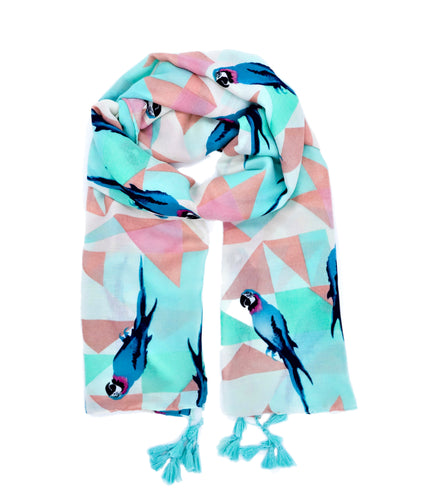 Scarf with parrot pattern. Scarf for women. Pareo, Rose, green, blue scarf. Wrap yourself up a great selection of fashion scarves for women and men at Scarf Designers online. FREE SHIPPING in all EUROPE. Discover new textures, cosy materials and modern prints. Make a pretty addition to your look with fashion scarves available in adaptable colours, a wide range of sizes and timeless styles.
