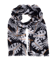 Load image into Gallery viewer, Black scarf. White scarf. Black and white scarf. Scarf with palm leaves. Scarf for women. Wrap yourself up a great selection of fashion scarves for women and men at Scarf Designers online. FREE SHIPPING in all EUROPE. Discover new textures, cosy materials and modern prints. Make a pretty addition to your look with fashion scarves available in adaptable colours, a wide range of sizes and timeless styles.