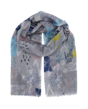 Load image into Gallery viewer, Grey scarf. Yellow, blue, rose, white scarf. Scarf for women. Elegant scarf. Wrap yourself up a great selection of fashion scarves for women and men at Scarf Designers online. FREE SHIPPING in all EUROPE. Discover new textures, cosy materials and modern prints. Make a pretty addition to your look with fashion scarves available in adaptable colours, a wide range of sizes and timeless styles.