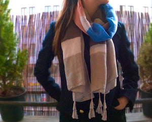 Grey scarf. Blue, rose and white scarf. Pareo. Scarf for women. Pastel colors. Wrap yourself up a great selection of fashion scarves for women and men at Scarf Designers online. FREE SHIPPING in all EUROPE. Discover new textures, cosy materials and modern prints. Make a pretty addition to your look with fashion scarves available in adaptable colours, a wide range of sizes and timeless styles.