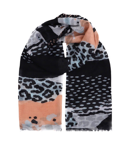 Scarf with panther and zebra pattern. Rose, blue, white and black scarf. Scarf for women. Wrap yourself up a great selection of fashion scarves for women and men at Scarf Designers online. FREE SHIPPING in all EUROPE. Discover new textures, cosy materials and modern prints. Make a pretty addition to your look with fashion scarves available in adaptable colours, a wide range of sizes and timeless styles.