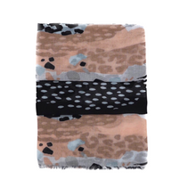 Load image into Gallery viewer, Scarf with panther and zebra pattern. Rose, blue, white and black scarf. Scarf for women. Wrap yourself up a great selection of fashion scarves for women and men at Scarf Designers online. FREE SHIPPING in all EUROPE. Discover new textures, cosy materials and modern prints. Make a pretty addition to your look with fashion scarves available in adaptable colours, a wide range of sizes and timeless styles.