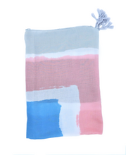 Load image into Gallery viewer, Grey scarf. Blue, rose and white scarf. Pareo. Scarf for women. Pastel colors. Wrap yourself up a great selection of fashion scarves for women and men at Scarf Designers online. FREE SHIPPING in all EUROPE. Discover new textures, cosy materials and modern prints. Make a pretty addition to your look with fashion scarves available in adaptable colours, a wide range of sizes and timeless styles.