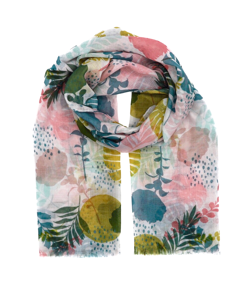 Scarf with flowers. Exotic flowers. Scarf with palm trees. Scarf for women. Yellow, rose, green scarf. Wrap yourself up a great selection of fashion scarves for women and men at Scarf Designers online. FREE SHIPPING in all EUROPE. Discover new textures, cosy materials and modern prints. Make a pretty addition to your look with fashion scarves available in adaptable colours, a wide range of sizes and timeless styles.
