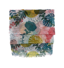 Load image into Gallery viewer, Scarf with flowers. Exotic flowers. Scarf with palm trees. Scarf for women. Yellow, rose, green scarf. Wrap yourself up a great selection of fashion scarves for women and men at Scarf Designers online. FREE SHIPPING in all EUROPE. Discover new textures, cosy materials and modern prints. Make a pretty addition to your look with fashion scarves available in adaptable colours, a wide range of sizes and timeless styles.