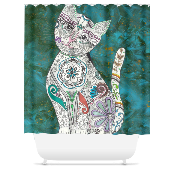 Zen Cat Shower Curtains