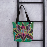 Lotus Flower Beach Bag Tote hanging on ladder