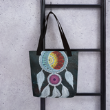 Galaxy Dream Catcher Beach Bag Tote hanging on ladder