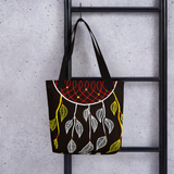 Black Dream Catcher Beach Bag Tote hanging on ladder