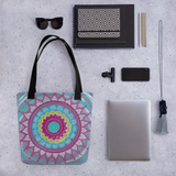 Mandala Zentangle Beach Bag Tote showing possible contents