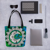 Moon Mandala Beach Bag Tote showing possible contents
