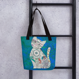 Colorful Zentangle Cat Beach Bag Tote hanging on ladder