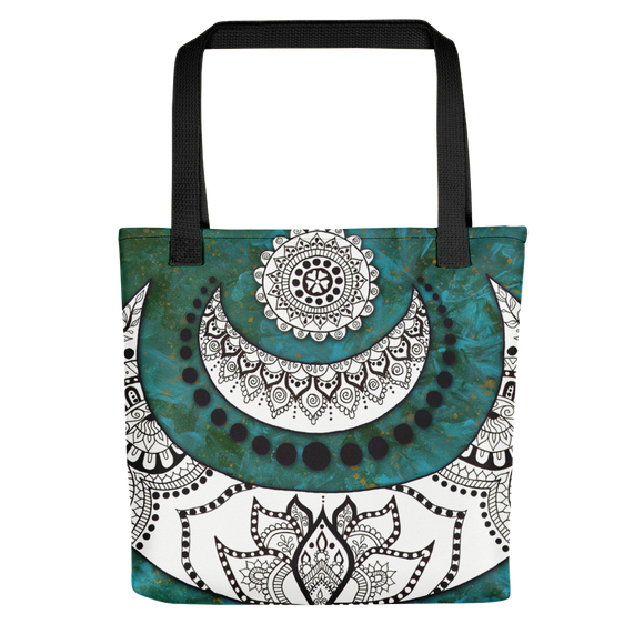 Crescent Moon Mandala Beach Bag Tote