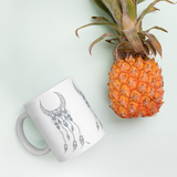 Sacred Geometry Feather Mug with pineapple for scale