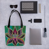 Lotus Flower Beach Bag Tote showing possible contents