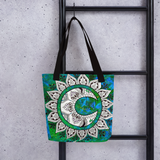 Moon Mandala Beach Bag Tote hanging on ladder