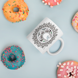 Zentangle Moon Mandala Mug with donuts for scale