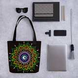 Black Flower Mandala Beach Bag Tote showing possible contents