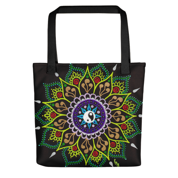 Black Flower Mandala Beach Bag Tote