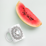Zentangle Moon Mandala Mug with watermelon for scale