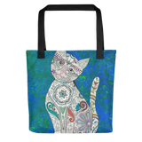 Colorful Zentangle Cat Beach Bag Tote