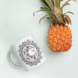 Zentangle Moon Mandala Mug with pineapple for scale