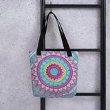 Mandala Zentangle Beach Bag Tote hanging on ladder