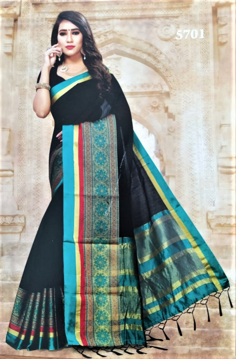 Cotton Silk Sarees (Black with Green border)