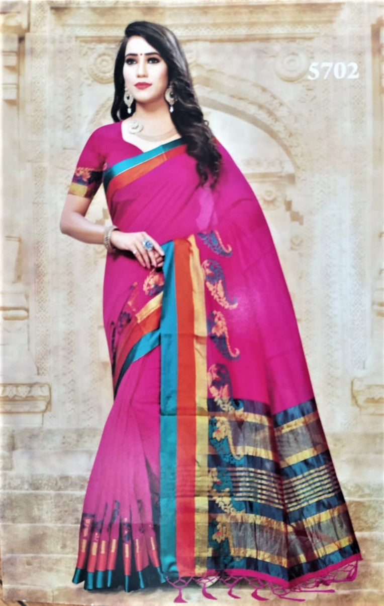 Cotton Silk Saree (Pink with Green border)