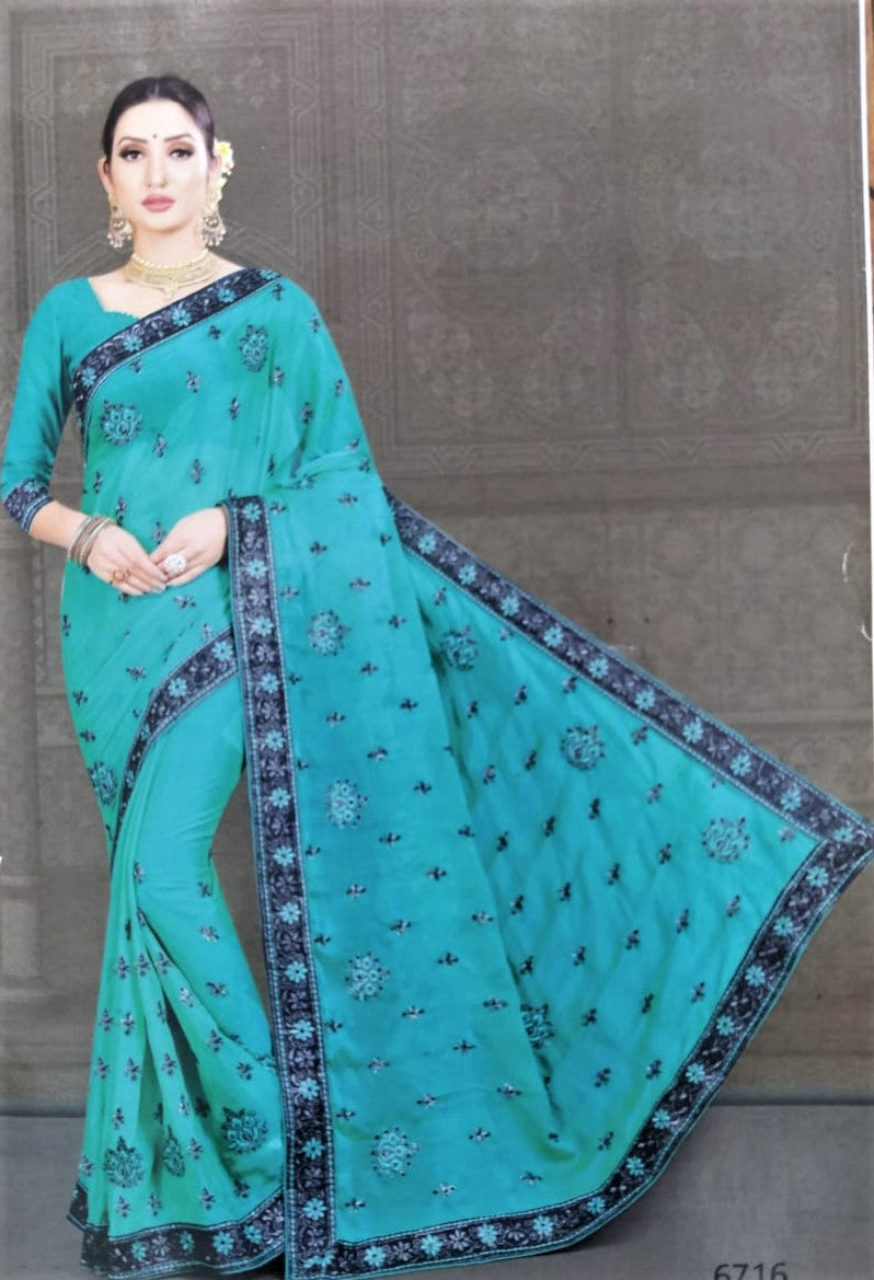 Harrier Silk Saree ( Green with Black border)