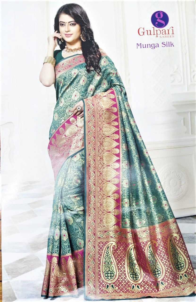 Banarasi Kanjivaram Silk Saree ( Emerald with Red border)