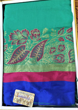 Cotton Silk Sarees (Green with Blue border)
